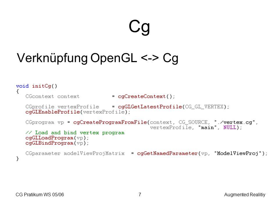 CG Pratikum WS 05/06Augmented Realitiy18 Programmstruktur 1.
