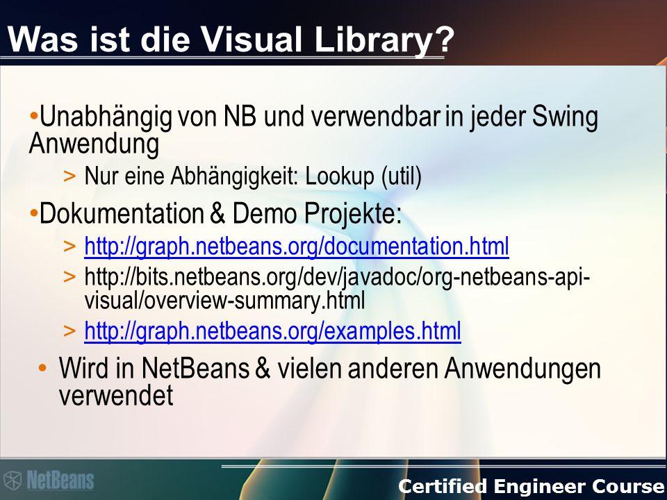 Certified Engineer Course Mehr Informationen Dokumentation, Demo Projekte & Tutorials: > http://graph.netbeans.org/documentation.html http://graph.netbeans.org/documentation.html > http://graph.netbeans.org/examples.html http://graph.netbeans.org/examples.html