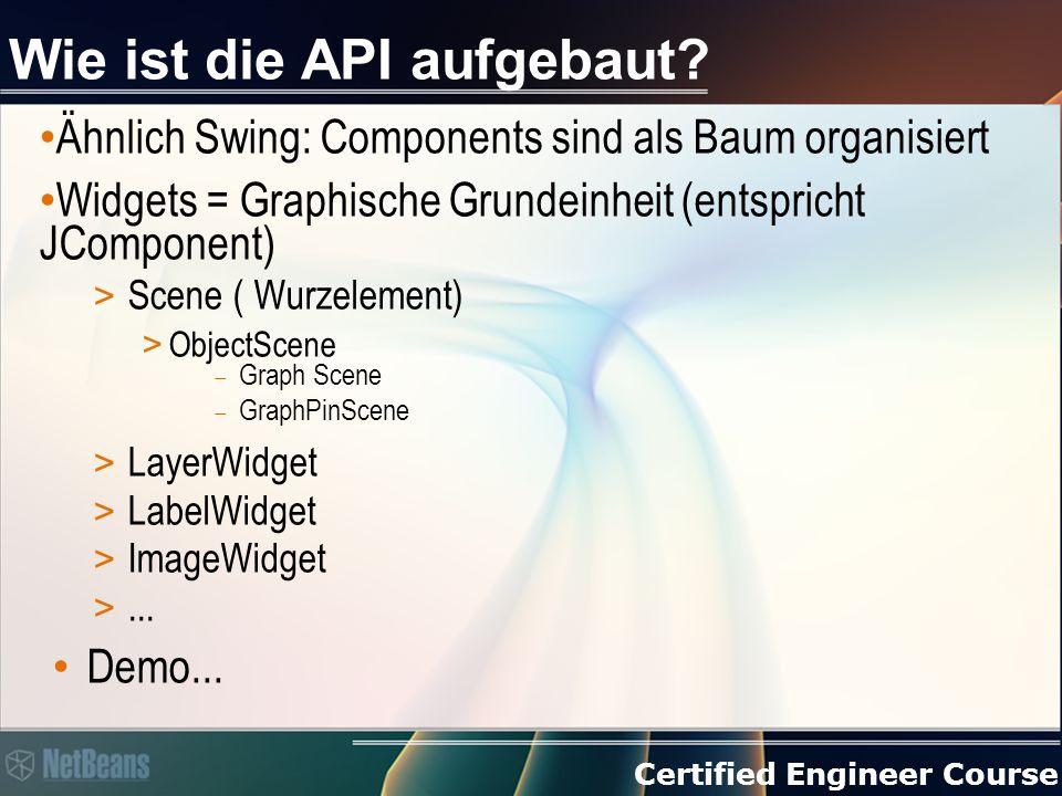 Certified Engineer Course Demo 1)Neue TopComponent Visual Library Demo erzeugen und JScrollPane hinzufügen 2)Im Konstruktor einfügen: Scene scene = new Scene(); // LayerWidget ist eine unsichtbare Layer (wie in Photoshop...) LayerWidget layerWidget = new LayerWidget(scene); scene.addChild(layerWidget); Widget widget = new LabelWidget(scene, Hallo Welt! ); layerWidget.addChild(widget); jScrollPane1.setViewportView(scene.createView()); 3)Ausführen