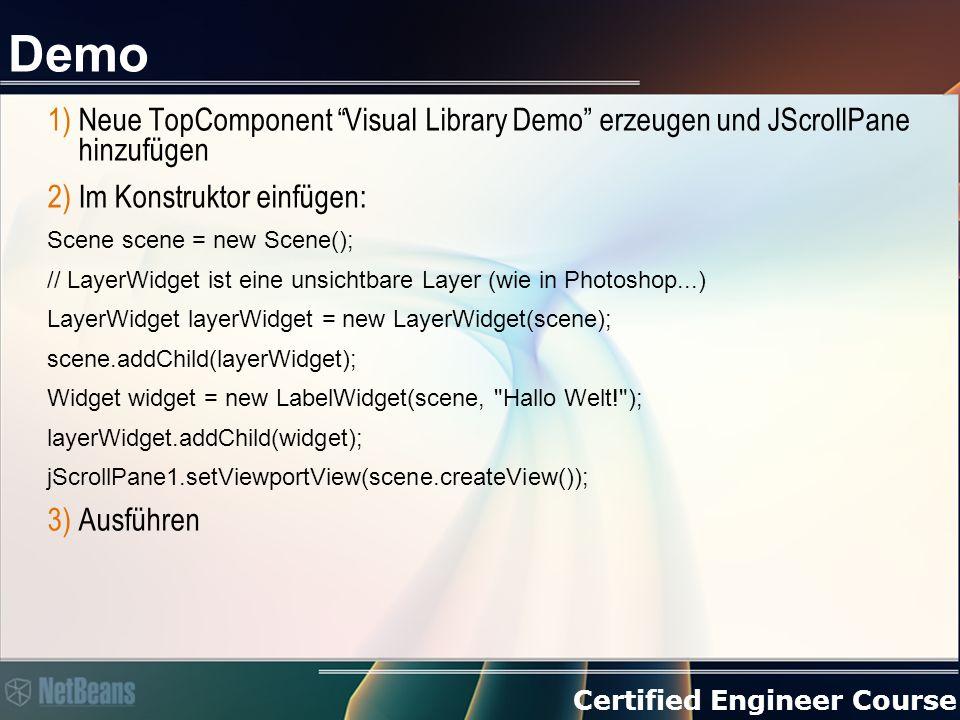 """Certified Engineer Course Demo 1)Neue TopComponent """"Visual Library Demo"""" erzeugen und JScrollPane hinzufügen 2)Im Konstruktor einfügen: Scene scene ="""
