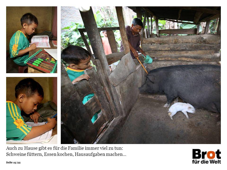 Seite 19/22 Auch zu Hause gibt es für die Familie immer viel zu tun: Schweine füttern, Essen kochen, Hausaufgaben machen...