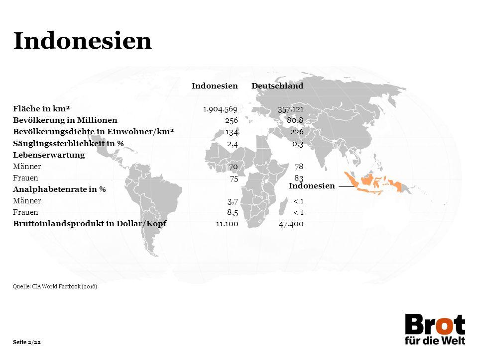 Seite 2/22 Indonesien IndonesienDeutschland Fläche in km²1.904.569357.121 Bevölkerung in Millionen 25680,8 Bevölkerungsdichte in Einwohner/km²134226 Säuglingssterblichkeit in %2,40,3 Lebenserwartung Männer7078 Frauen7583 Analphabetenrate in % Männer3,7< 1 Frauen8,5< 1 Bruttoinlandsprodukt in Dollar/Kopf11.10047.400 Quelle: CIA World Factbook (2016)