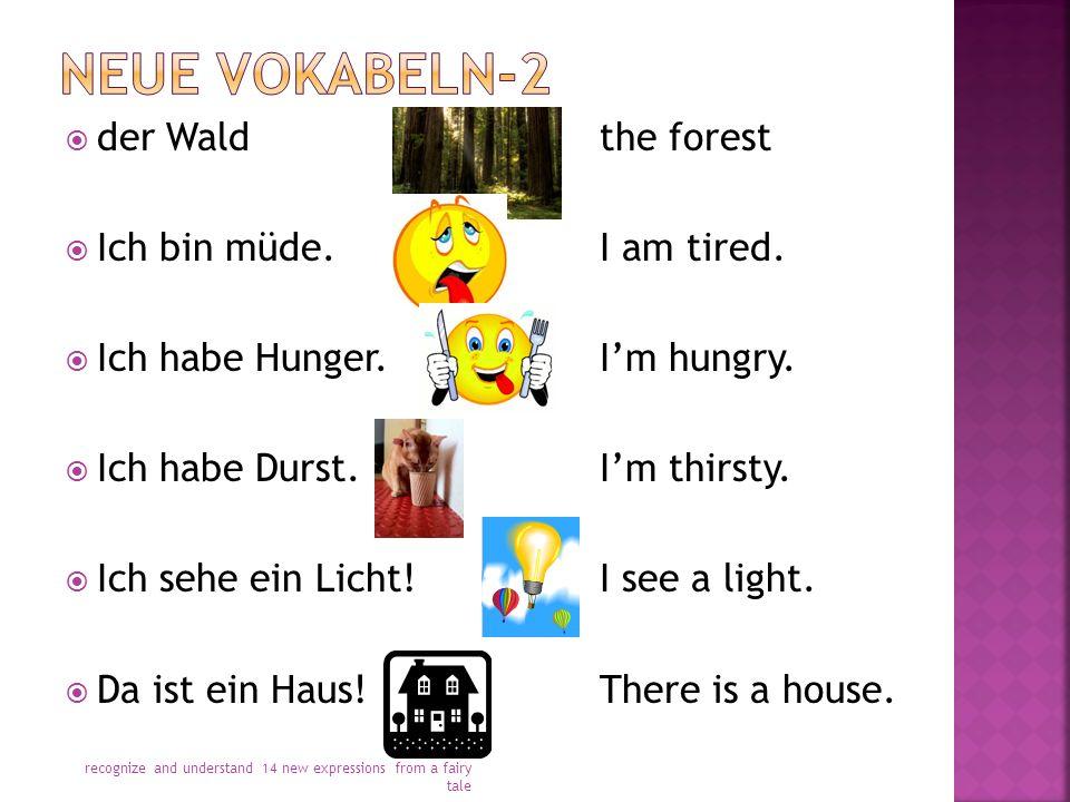  der Waldthe forest  Ich bin müde.I am tired.  Ich habe Hunger.I'm hungry.  Ich habe Durst.I'm thirsty.  Ich sehe ein Licht!I see a light.  Da i
