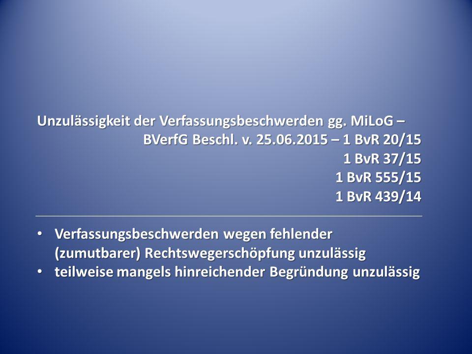 Unzulässigkeit der Verfassungsbeschwerden gg. MiLoG – BVerfG Beschl.