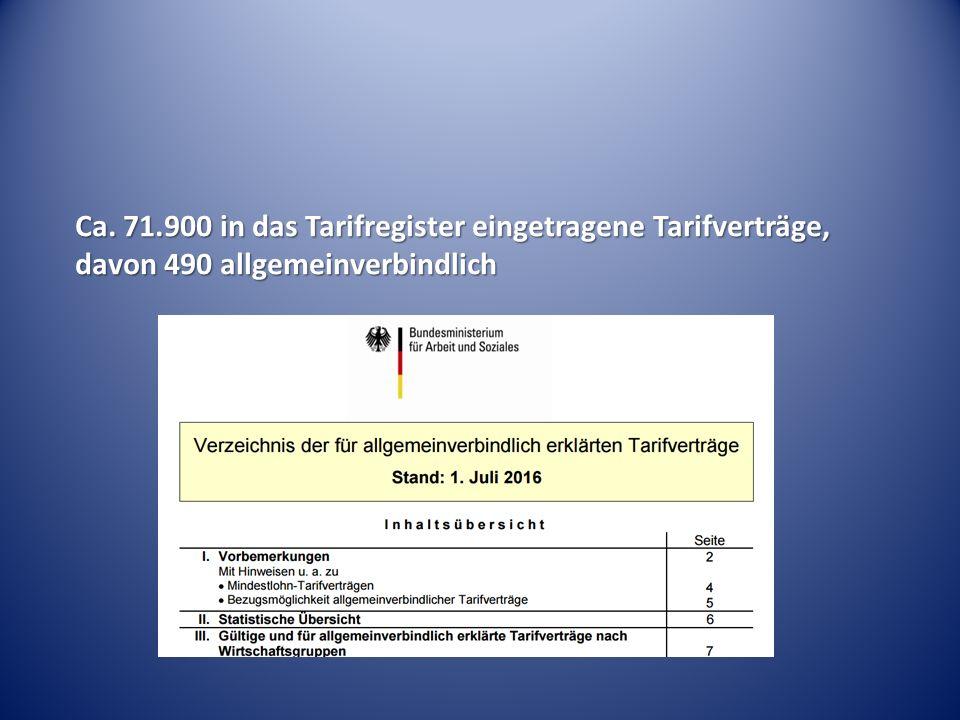 Ca. 71.900 in das Tarifregister eingetragene Tarifverträge, davon 490 allgemeinverbindlich