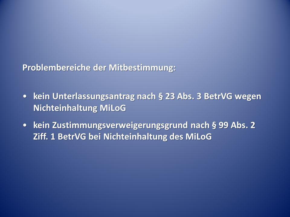 Problembereiche der Mitbestimmung: kein Unterlassungsantrag nach § 23 Abs.
