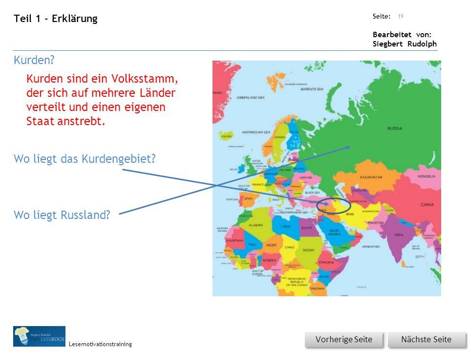 Übungsart: Seite: Bearbeitet von: Siegbert Rudolph Lesemotivationstraining Teil 1 - Erklärung Kurden.