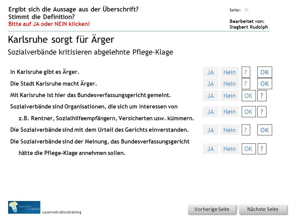 Übungsart: Seite: Bearbeitet von: Siegbert Rudolph Lesemotivationstraining In Karlsruhe gibt es Ärger.