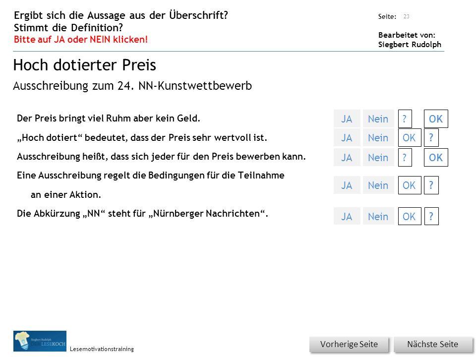 Übungsart: Seite: Bearbeitet von: Siegbert Rudolph Lesemotivationstraining Der Preis bringt viel Ruhm aber kein Geld.