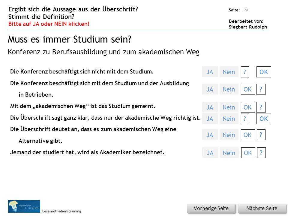 Übungsart: Seite: Bearbeitet von: Siegbert Rudolph Lesemotivationstraining Die Konferenz beschäftigt sich nicht mit dem Studium.
