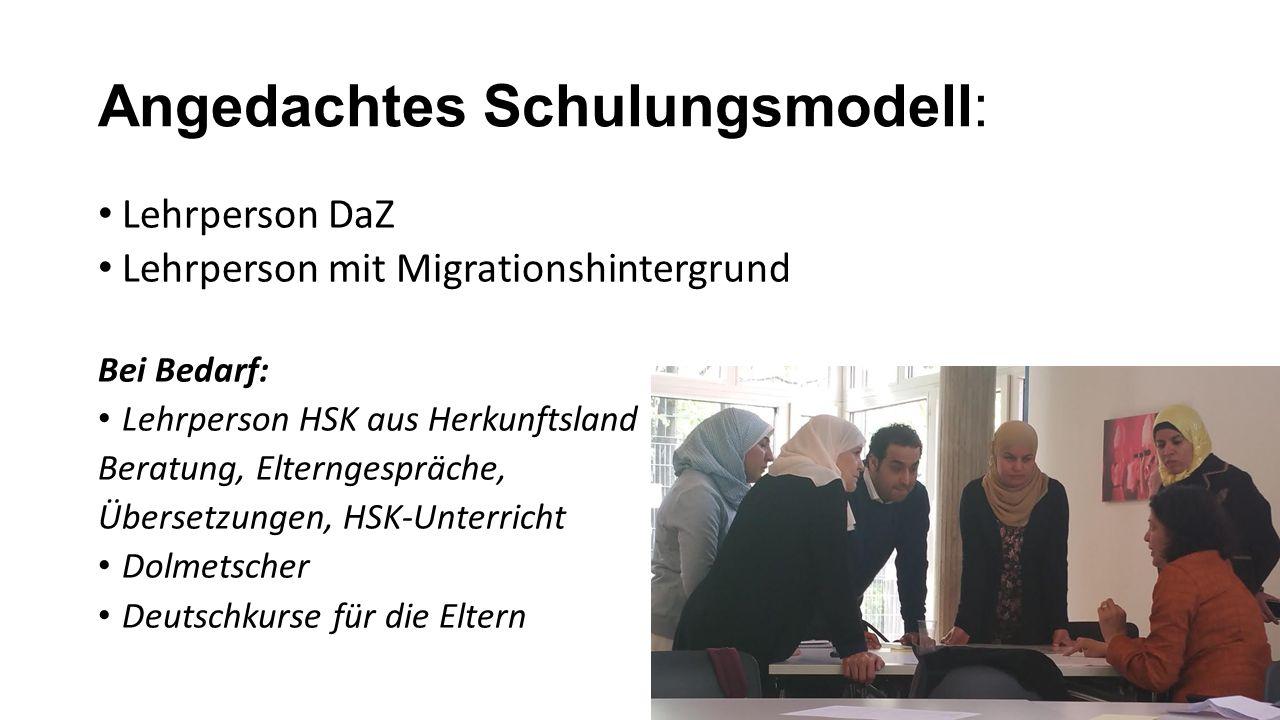 Angedachtes Schulungsmodell: Lehrperson DaZ Lehrperson mit Migrationshintergrund Bei Bedarf: Lehrperson HSK aus Herkunftsland Beratung, Elterngespräche, Übersetzungen, HSK-Unterricht Dolmetscher Deutschkurse für die Eltern