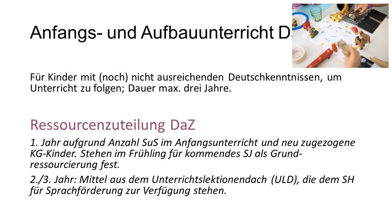 Anfangs- und Aufbauunterricht DaZ Für Kinder mit (noch) nicht ausreichenden Deutschkenntnissen, um Unterricht zu folgen; Dauer max.