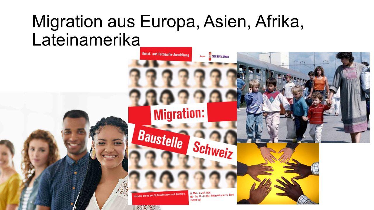 Migration aus Europa, Asien, Afrika, Lateinamerika