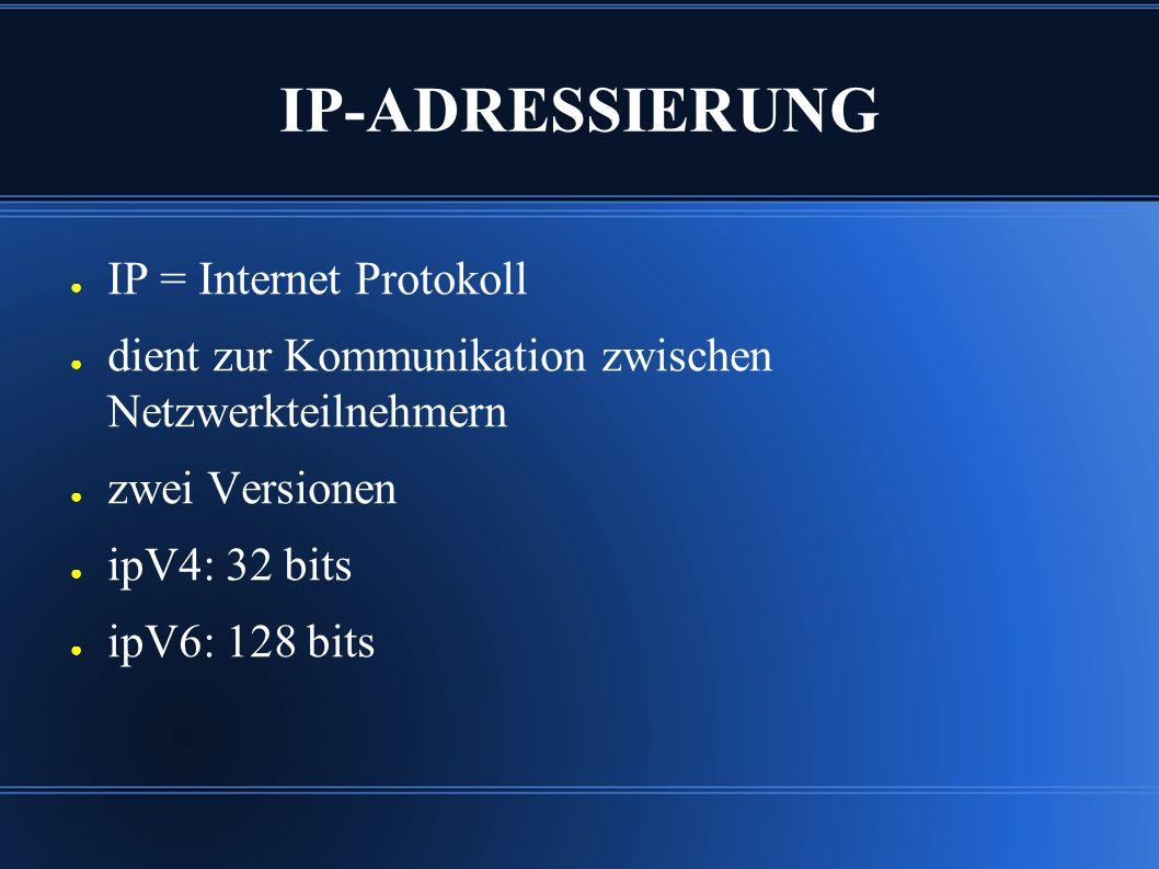IP-ADRESSIERUNG ● IP = Internet Protokoll ● dient zur Kommunikation zwischen Netzwerkteilnehmern ● zwei Versionen ● ipV4: 32 bits ● ipV6: 128 bits
