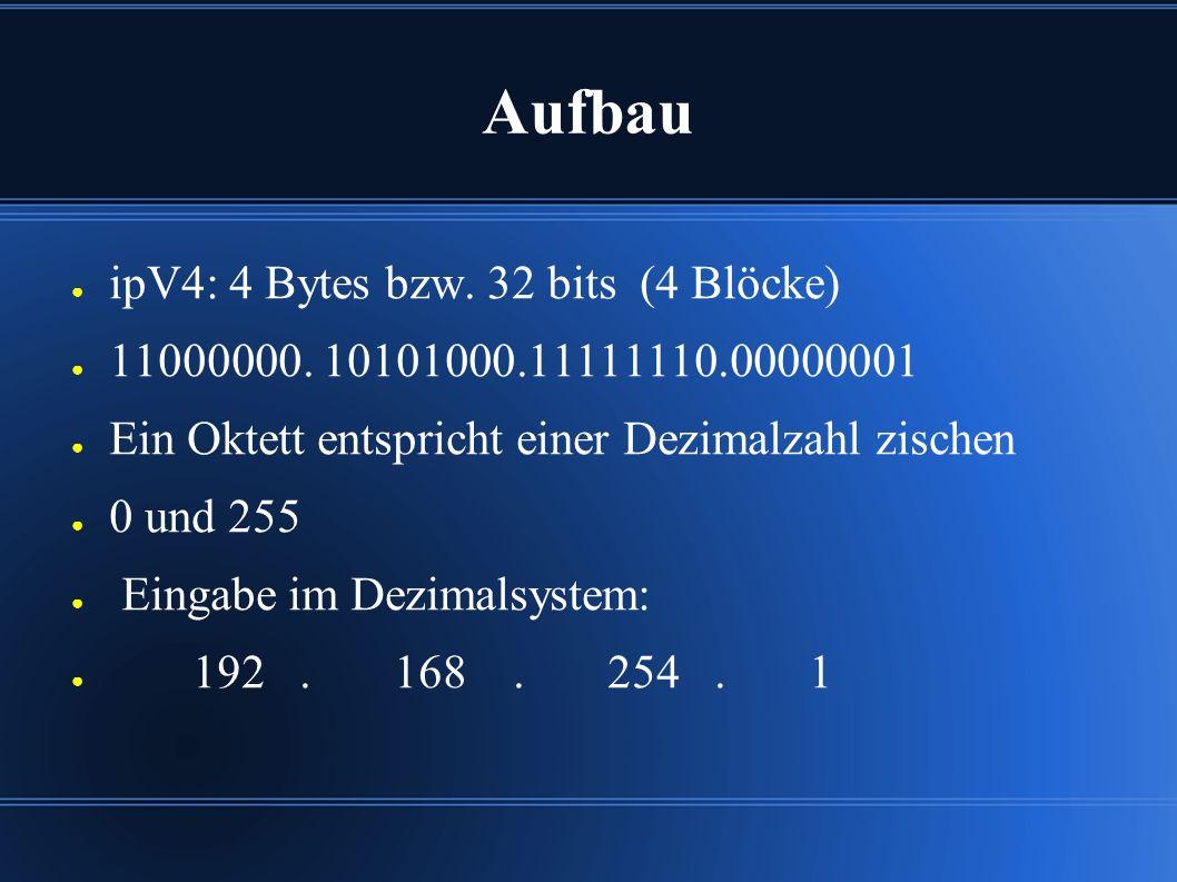 Aufbau ● ipV4: 4 Bytes bzw. 32 bits (4 Blöcke) ● 11000000.