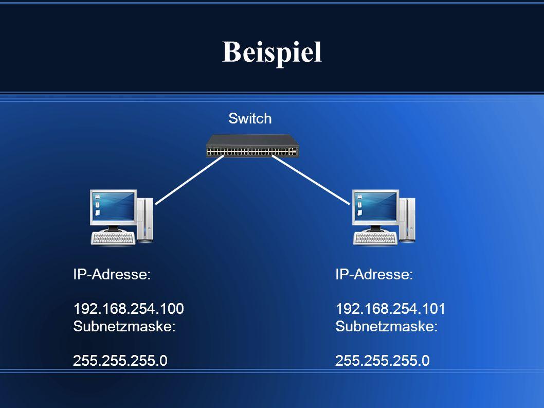 Beispiel IP-Adresse: 192.168.254.100 Subnetzmaske: 255.255.255.0 IP-Adresse: 192.168.254.101 Subnetzmaske: 255.255.255.0 Switch