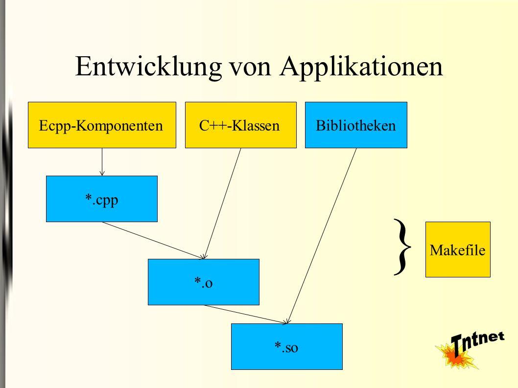 Entwicklung von Applikationen Ecpp-Komponenten *.cpp C++-Klassen *.o *.so Bibliotheken } Makefile