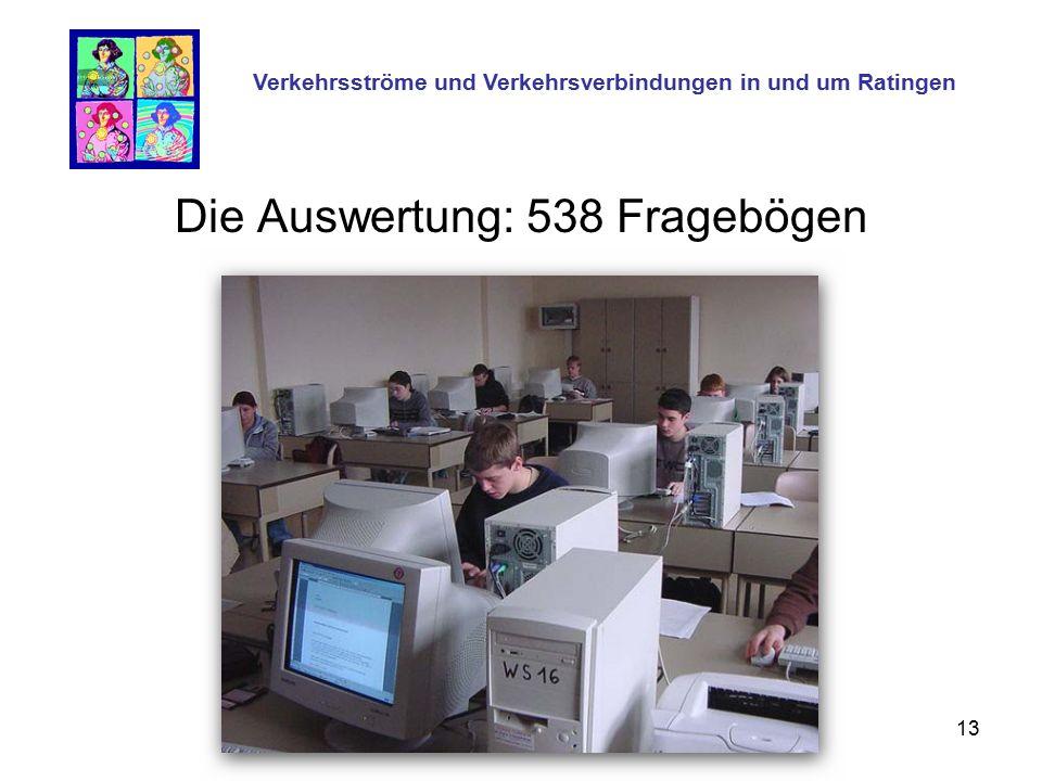 13 Die Auswertung: 538 Fragebögen Verkehrsströme und Verkehrsverbindungen in und um Ratingen