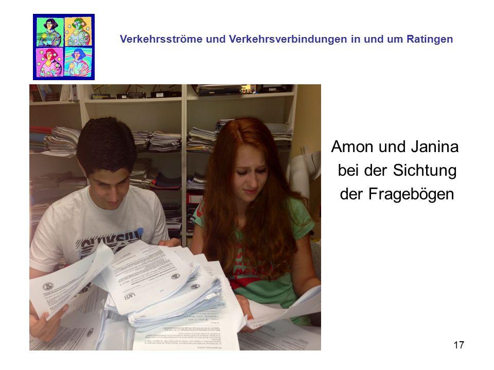 17 Amon und Janina bei der Sichtung der Fragebögen Verkehrsströme und Verkehrsverbindungen in und um Ratingen