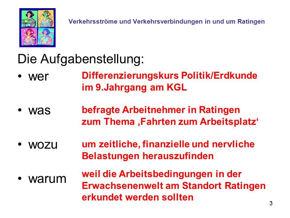 3 Verkehrsströme und Verkehrsverbindungen in und um Ratingen Die Aufgabenstellung: wer was wozu warum Differenzierungskurs Politik/Erdkunde im 9.Jahrg