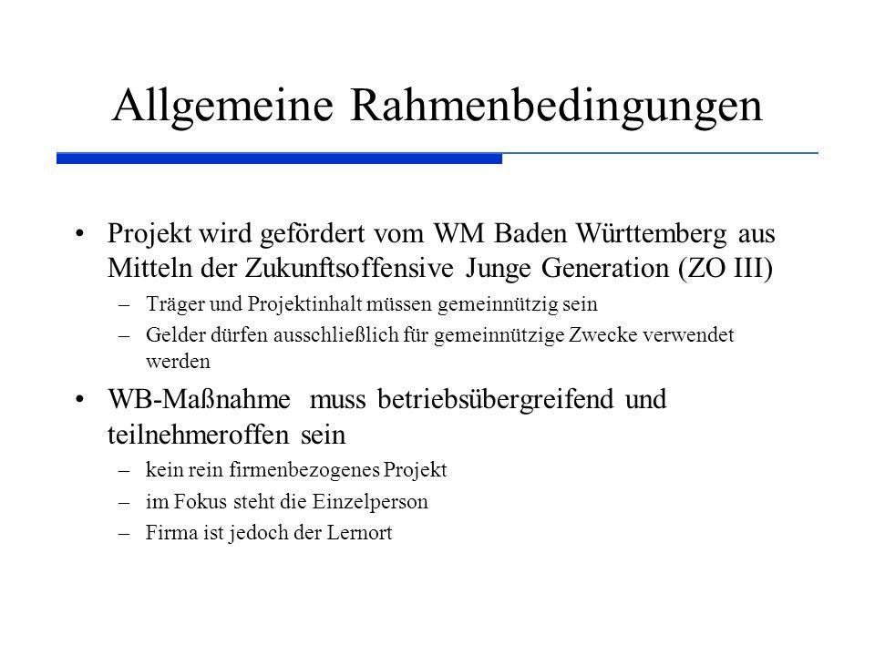 Allgemeine Rahmenbedingungen Projekt wird gefördert vom WM Baden Württemberg aus Mitteln der Zukunftsoffensive Junge Generation (ZO III) –Träger und Projektinhalt müssen gemeinnützig sein –Gelder dürfen ausschließlich für gemeinnützige Zwecke verwendet werden WB-Maßnahme muss betriebsübergreifend und teilnehmeroffen sein –kein rein firmenbezogenes Projekt –im Fokus steht die Einzelperson –Firma ist jedoch der Lernort