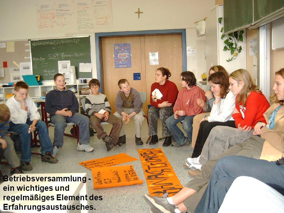 Betriebsversammlung - ein wichtiges und regelmäßiges Element des Erfahrungsaustausches.