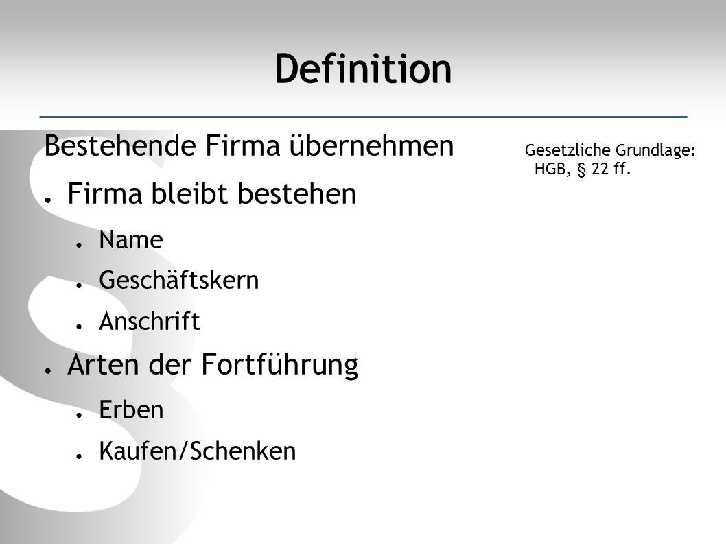 Definition Bestehende Firma übernehmen ● Firma bleibt bestehen ● Name ● Geschäftskern ● Anschrift ● Arten der Fortführung ● Erben ● Kaufen/Schenken Gesetzliche Grundlage: HGB, § 22 ff.