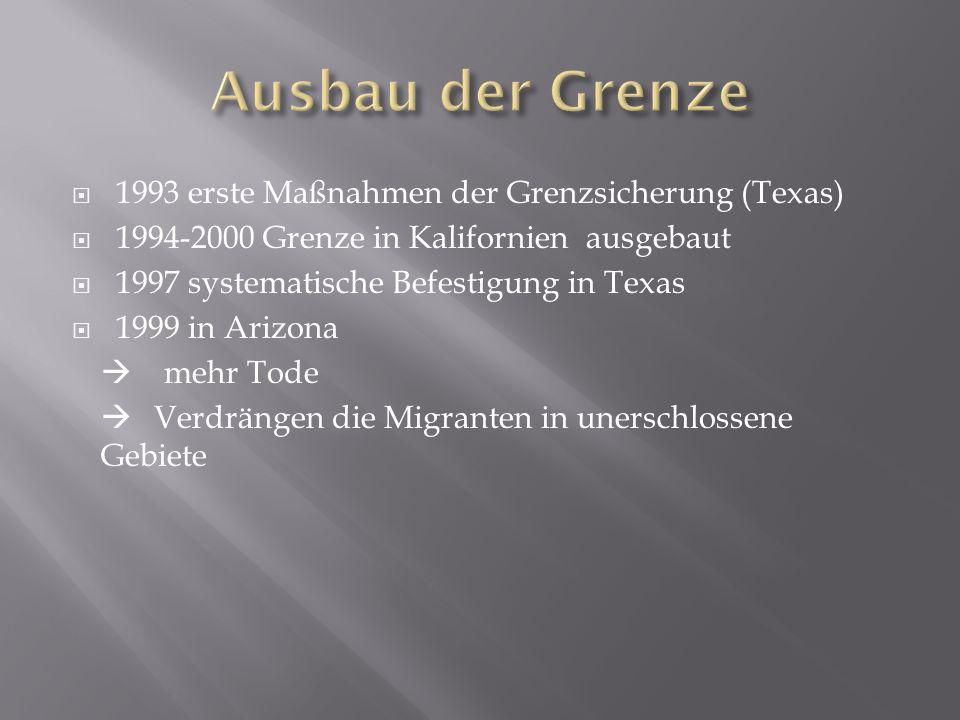  1993 erste Maßnahmen der Grenzsicherung (Texas)  1994-2000 Grenze in Kalifornien ausgebaut  1997 systematische Befestigung in Texas  1999 in Arizona  mehr Tode  Verdrängen die Migranten in unerschlossene Gebiete