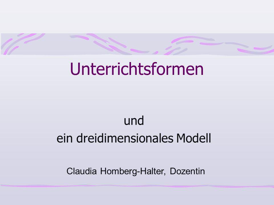Unterrichtsformen und ein dreidimensionales Modell Claudia Homberg-Halter, Dozentin