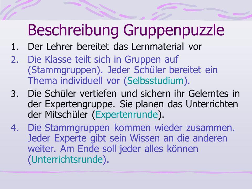 Beschreibung Gruppenpuzzle 1. Der Lehrer bereitet das Lernmaterial vor 2. Die Klasse teilt sich in Gruppen auf (Stammgruppen). Jeder Schüler bereitet