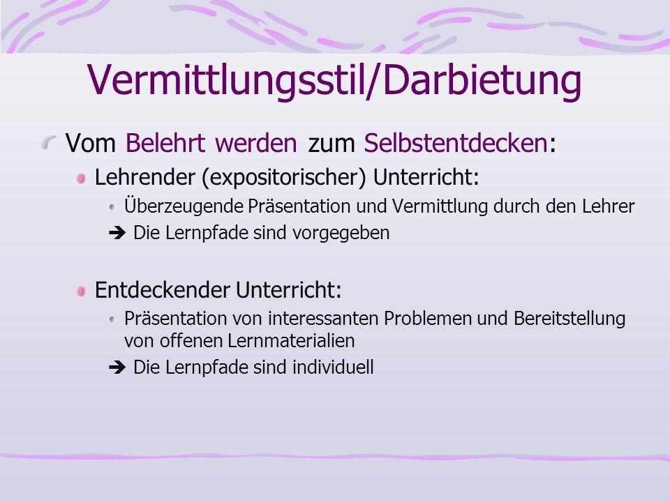 Vermittlungsstil/Darbietung Vom Belehrt werden zum Selbstentdecken: Lehrender (expositorischer) Unterricht: Überzeugende Präsentation und Vermittlung