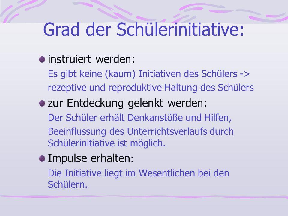 Grad der Schülerinitiative: instruiert werden: Es gibt keine (kaum) Initiativen des Schülers -> rezeptive und reproduktive Haltung des Schülers zur En