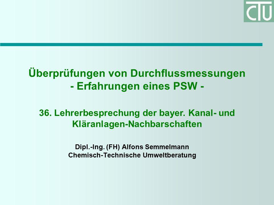 Überprüfungen von Durchflussmessungen - Erfahrungen eines PSW - Dipl.-Ing.
