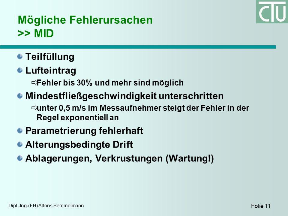 Dipl.-Ing-(FH) Alfons Semmelmann Folie 11 Mögliche Fehlerursachen >> MID Teilfüllung Lufteintrag  Fehler bis 30% und mehr sind möglich Mindestfließgeschwindigkeit unterschritten  unter 0,5 m/s im Messaufnehmer steigt der Fehler in der Regel exponentiell an Parametrierung fehlerhaft Alterungsbedingte Drift Ablagerungen, Verkrustungen (Wartung!)