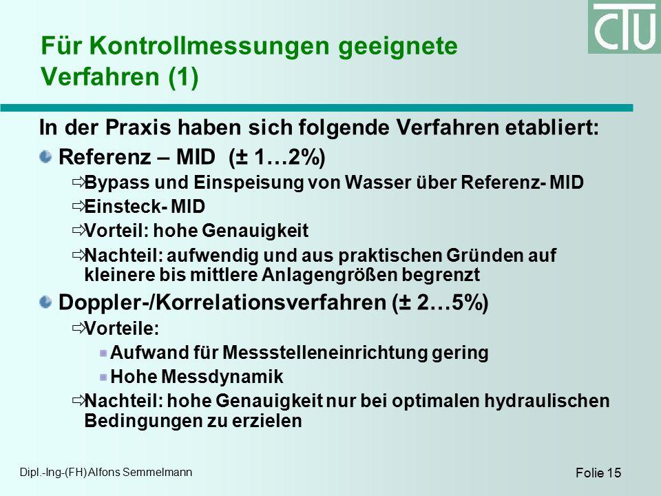 Dipl.-Ing-(FH) Alfons Semmelmann Folie 15 Für Kontrollmessungen geeignete Verfahren (1) In der Praxis haben sich folgende Verfahren etabliert: Referenz – MID (± 1…2%)  Bypass und Einspeisung von Wasser über Referenz- MID  Einsteck- MID  Vorteil: hohe Genauigkeit  Nachteil: aufwendig und aus praktischen Gründen auf kleinere bis mittlere Anlagengrößen begrenzt Doppler-/Korrelationsverfahren (± 2…5%)  Vorteile: Aufwand für Messstelleneinrichtung gering Hohe Messdynamik  Nachteil: hohe Genauigkeit nur bei optimalen hydraulischen Bedingungen zu erzielen