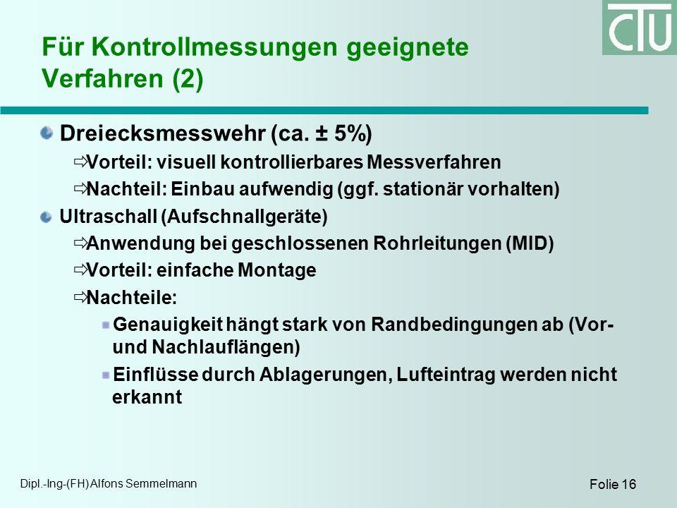 Dipl.-Ing-(FH) Alfons Semmelmann Folie 16 Für Kontrollmessungen geeignete Verfahren (2) Dreiecksmesswehr (ca.