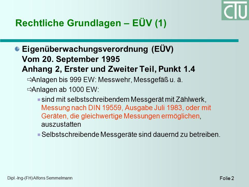 Dipl.-Ing-(FH) Alfons Semmelmann Folie 2 Rechtliche Grundlagen – EÜV (1) Eigenüberwachungsverordnung (EÜV) Vom 20.