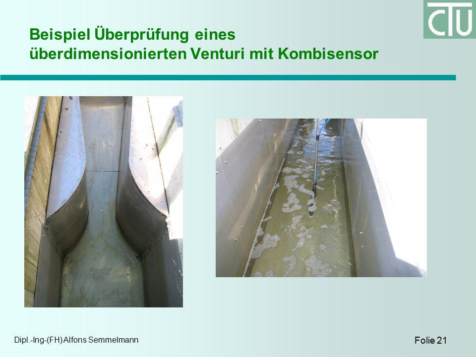 Dipl.-Ing-(FH) Alfons Semmelmann Folie 21 Beispiel Überprüfung eines überdimensionierten Venturi mit Kombisensor