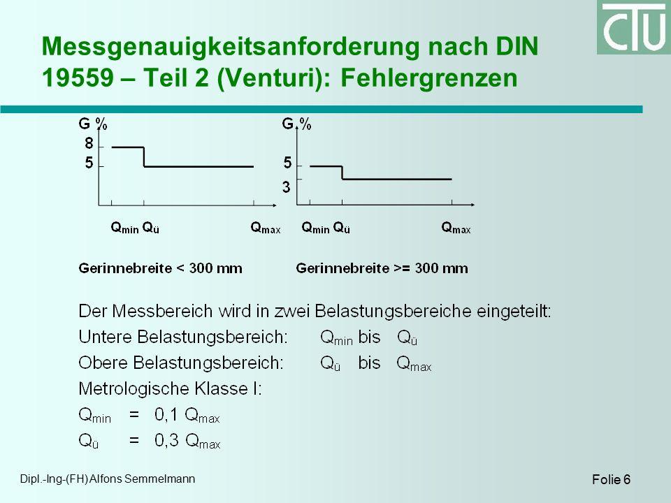 Dipl.-Ing-(FH) Alfons Semmelmann Folie 6 Messgenauigkeitsanforderung nach DIN 19559 – Teil 2 (Venturi): Fehlergrenzen