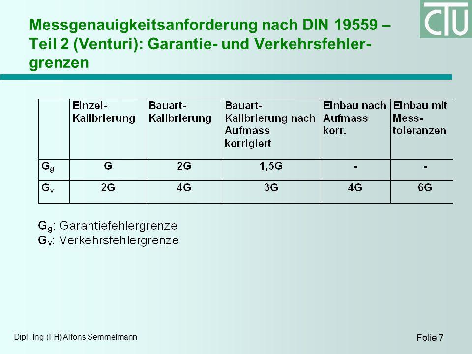 Dipl.-Ing-(FH) Alfons Semmelmann Folie 7 Messgenauigkeitsanforderung nach DIN 19559 – Teil 2 (Venturi): Garantie- und Verkehrsfehler- grenzen