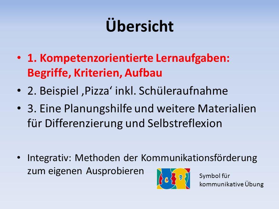 Übersicht 1.Kompetenzorientierte Lernaufgaben: Begriffe, Kriterien, Aufbau 2.