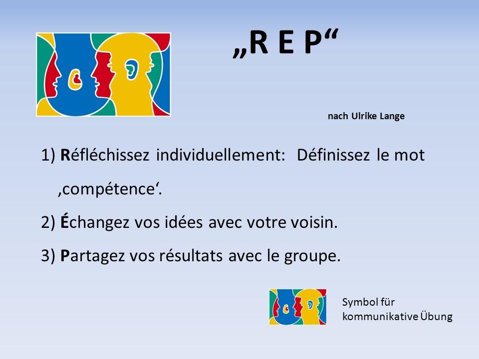 """""""R E P nach Ulrike Lange 1) Réfléchissez individuellement: Définissez le mot 'compétence'."""