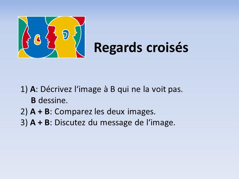 1) A: Décrivez l'image à B qui ne la voit pas.B dessine.