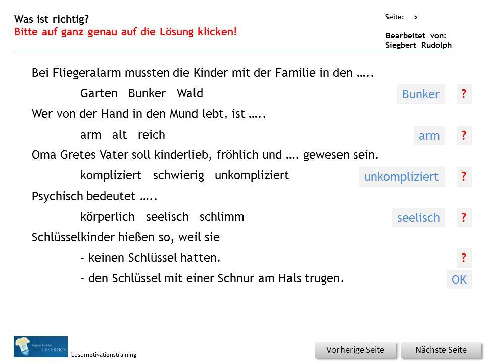 Übungsart: Seite: Bearbeitet von: Siegbert Rudolph Lesemotivationstraining 4 Wortschatz – Was passt zusammen? Bitte erst auf ein Kästchen von 1-5 und