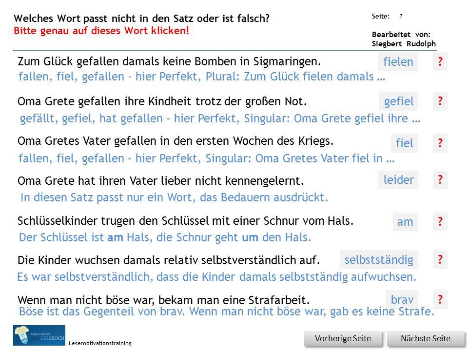 Übungsart: Seite: Bearbeitet von: Siegbert Rudolph Lesemotivationstraining Was ist richtig? Bitte auf richtige Lösungswort klicken! Wenn man arm ist,