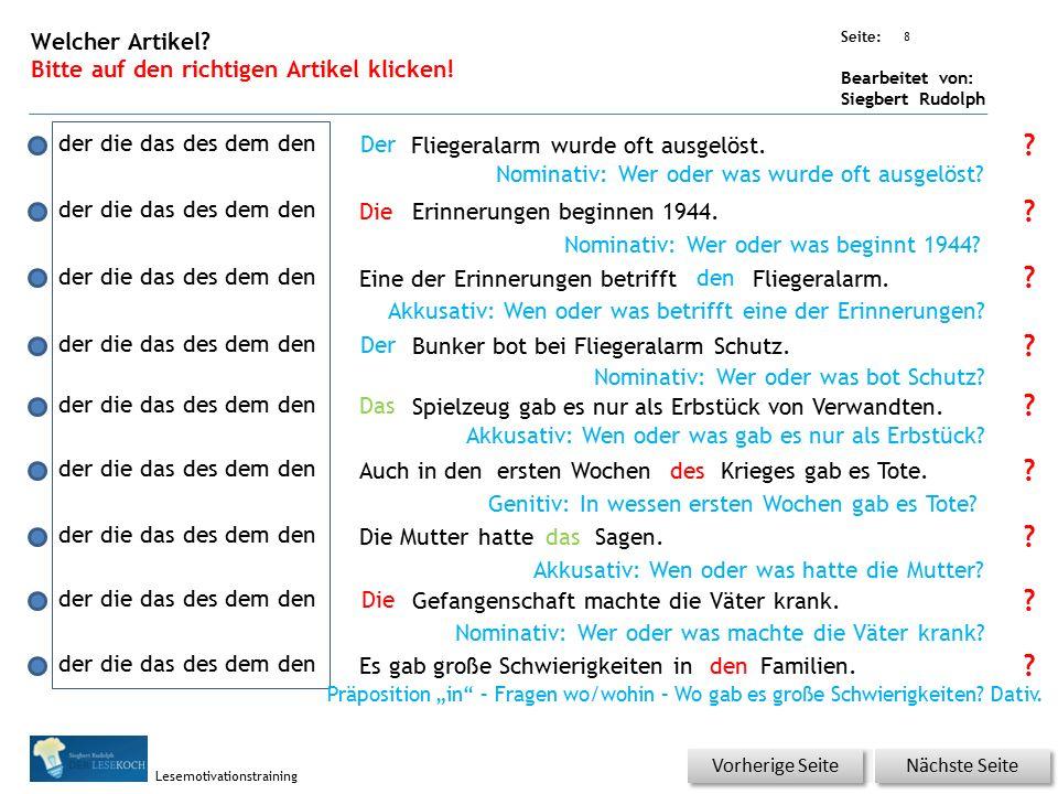 Übungsart: Seite: Bearbeitet von: Siegbert Rudolph Lesemotivationstraining 7 Welches Wort passt nicht in den Satz oder ist falsch.