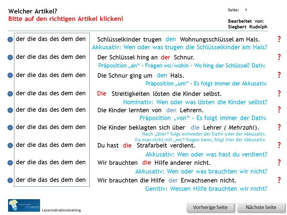 Übungsart: Seite: Bearbeitet von: Siegbert Rudolph Lesemotivationstraining 8 Welcher Artikel.