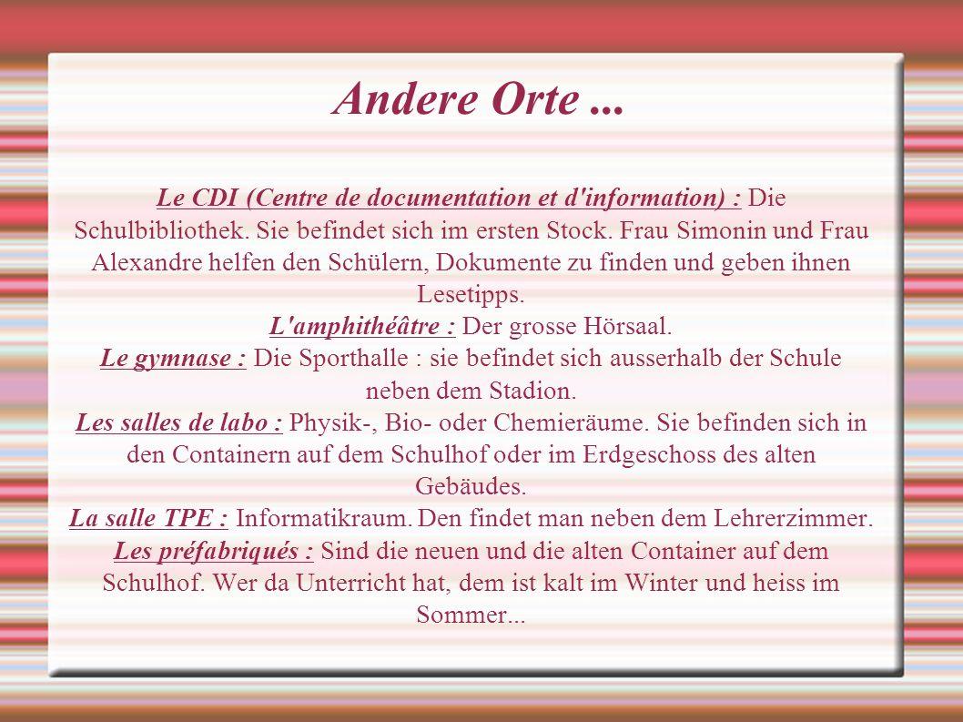 Andere Orte... Le CDI (Centre de documentation et d'information) : Die Schulbibliothek. Sie befindet sich im ersten Stock. Frau Simonin und Frau Alexa
