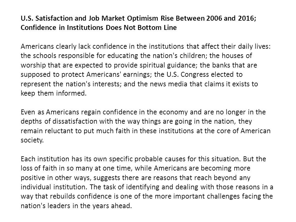 U.S. Satisfaction and Job Market Optimism Rise Between 2006 and 2016; Confidence in Institutions Does Not Bottom Line Americans clearly lack confidenc