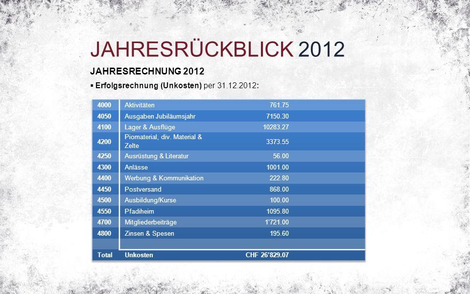 JAHRESRÜCKBLICK 2012 JAHRESRECHNUNG 2012  Erfolgsrechnung (Unkosten) per 31.12.2012: